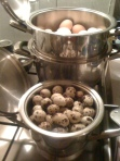 Oua de prepelita si oua de gaina puse la fiert in vase zepter.